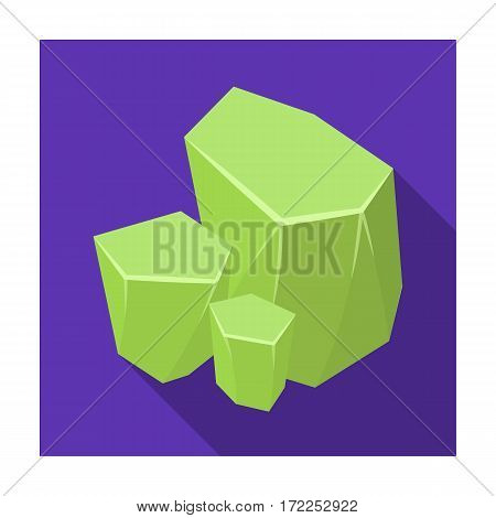 Light green rough gemstone icon in flat design isolated on white background. Precious minerals and jeweler symbol stock vector illustration.