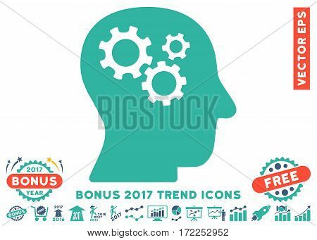 Cobalt And Cyan Intellect Gears icon with bonus 2017 year trend elements. Vector illustration style is flat iconic bicolor symbols white background.