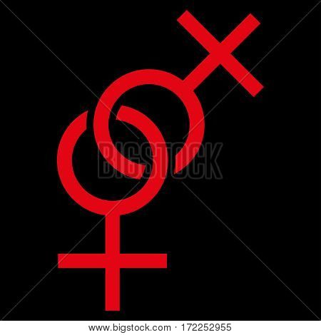 Lesbian Love Symbol flat icon. Vector red symbol. Pictograph is isolated on a black background. Trendy flat style illustration for web site design logo ads apps user interface.