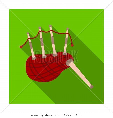 Scottish bagpipes icon in flat design isolated on white background. Scotland country symbol stock vector illustration.