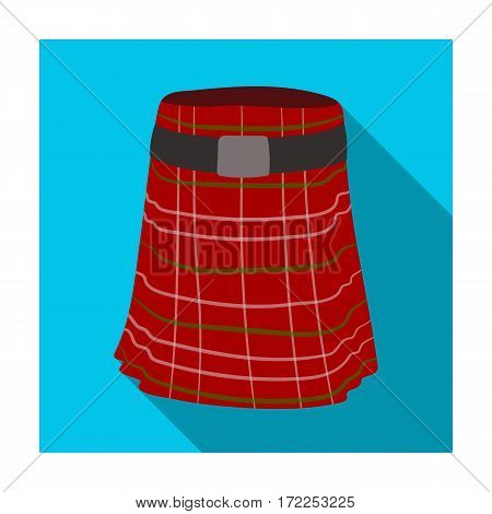 Kilt icon in flat design isolated on white background. Scotland country symbol stock vector illustration.