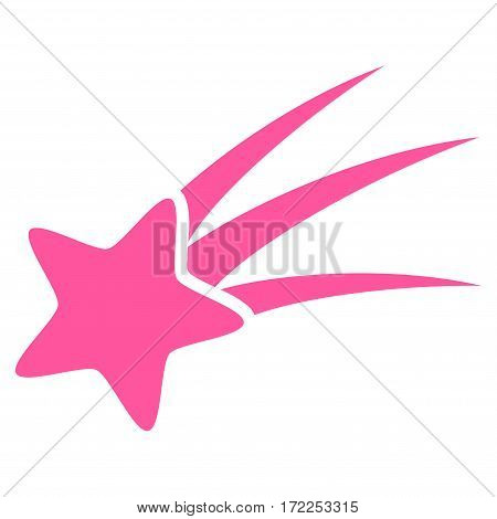 Falling Star flat icon. Vector pink symbol. Pictogram is isolated on a white background. Trendy flat style illustration for web site design logo ads apps user interface.
