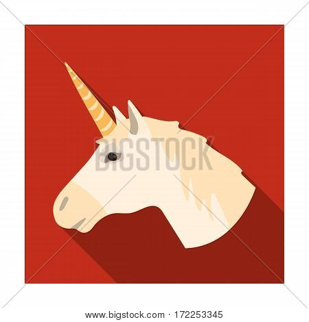 Unicorn icon in flat design isolated on white background. Scotland country symbol stock vector illustration.