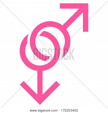 Gay Love Symbol flat icon. Vector pink symbol. Pictogram is isolated on a white background. Trendy flat style illustration for web site design logo ads apps user interface.