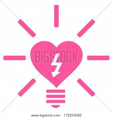 Heart Electric Bulb flat icon. Vector pink symbol. Pictograph is isolated on a white background. Trendy flat style illustration for web site design logo ads apps user interface.