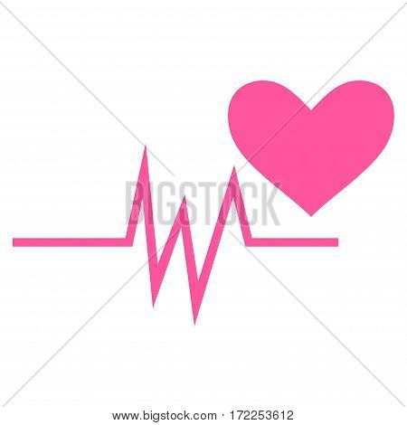 Heart Pulse Signal flat icon. Vector pink symbol. Pictogram is isolated on a white background. Trendy flat style illustration for web site design logo ads apps user interface.