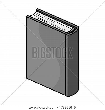 Blue standing book icon in monochrome design isolated on white background. Books symbol stock vector illustration.