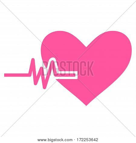Heart Pulse flat icon. Vector pink symbol. Pictogram is isolated on a white background. Trendy flat style illustration for web site design logo ads apps user interface.