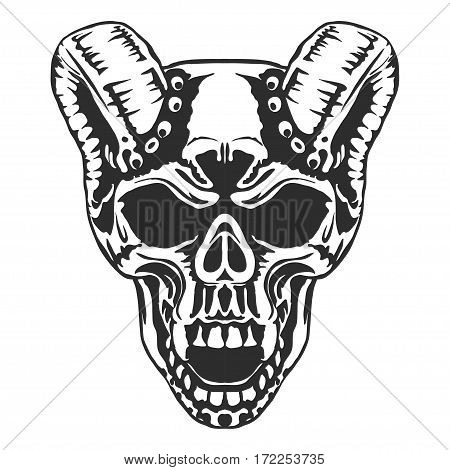 Skull horned demon. Biker community emblem, Vector