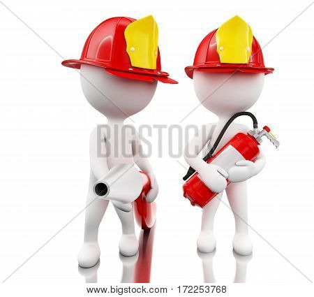 3d illustration. Fireman with helment hose and extinguisher. Safety concept. Isolated white background