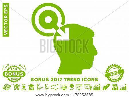 Eco Green Brain Interface Plug-In icon with bonus 2017 trend icon set. Vector illustration style is flat iconic symbols white background.