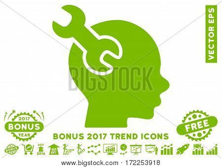 Eco Green Brain Service Wrench icon with bonus 2017 trend pictograms. Vector illustration style is flat iconic symbols white background.