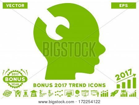 Eco Green Brain Wrench Tool icon with bonus 2017 year trend pictograms. Vector illustration style is flat iconic symbols white background.