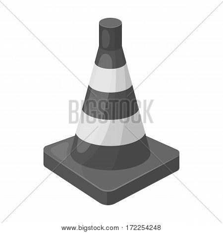 Traffic cone icon in monochrome design isolated on white background. Police symbol stock vector illustration.