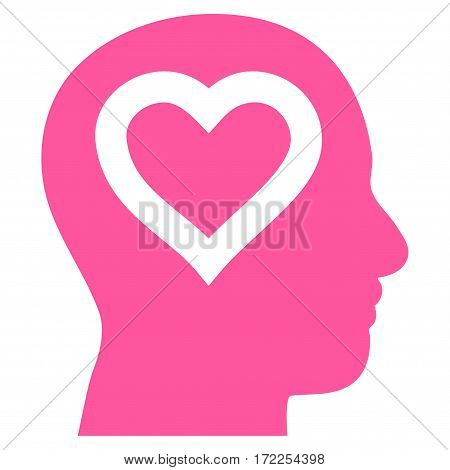 Love In Head flat icon. Vector pink symbol. Pictograph is isolated on a white background. Trendy flat style illustration for web site design logo ads apps user interface.
