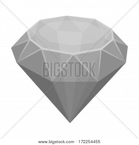 Diamond icon in monochrome design isolated on white background. Precious minerals and jeweler symbol stock vector illustration.