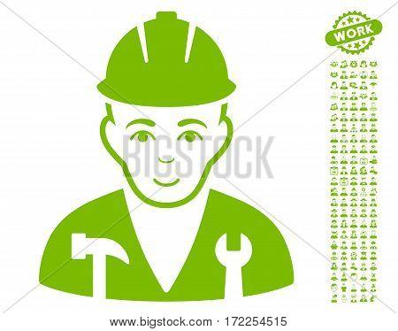Serviceman pictograph with bonus avatar symbols. Vector illustration style is flat iconic eco green symbols on white background.