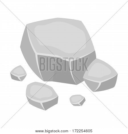 Copper ore icon in monochrome design isolated on white background. Precious minerals and jeweler symbol stock vector illustration.