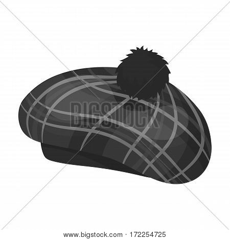 Scottish traditional cap icon in monochrome design isolated on white background. Scotland country symbol stock vector illustration.
