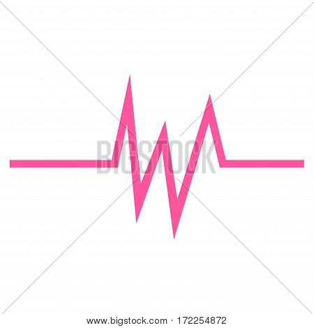 Pulse Signal flat icon. Vector pink symbol. Pictogram is isolated on a white background. Trendy flat style illustration for web site design logo ads apps user interface.