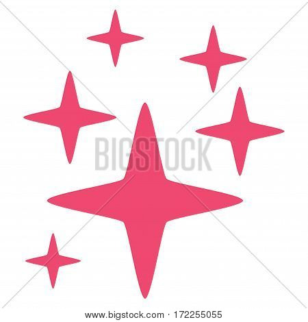 Sparkle Stars flat icon. Vector pink symbol. Pictograph is isolated on a white background. Trendy flat style illustration for web site design logo ads apps user interface.