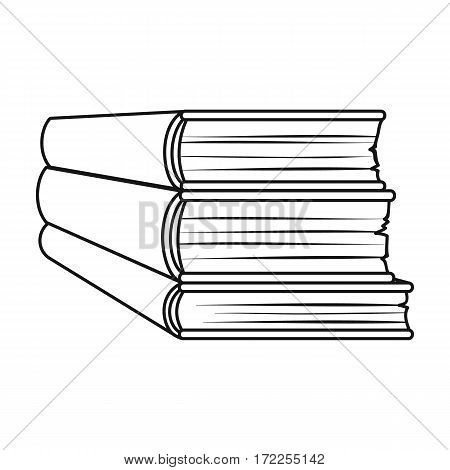 Stack of books icon in outline design isolated on white background. Books symbol stock vector illustration.