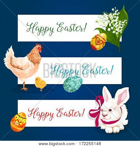 Easter holiday festive banner set. Easter egg with ornament, white rabbit bunny with ribbon bow, chicken with chick and spring lily flowers. Greeting card border, gift packaging label design