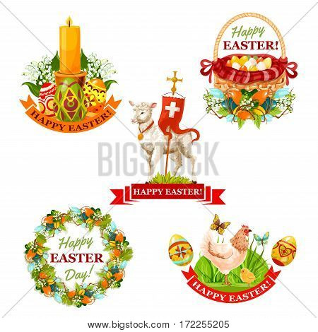 Easter holiday label set. Easter eggs in basket, chicken with chick and butterfly, Easter wreath with spring flowers and decorated eggs, lamb of God with cross, candle with lilies and ribbon banner