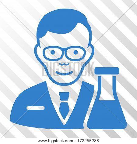 Cobalt Chemist toolbar icon. Vector pictogram style is a flat symbol on diagonal hatch transparent background.