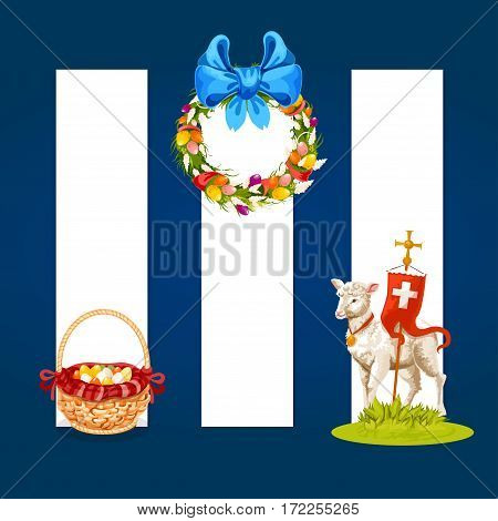 Easter spring holiday cartoon banner set. Easter egg hunt basket, floral Easter wreath with spring flowers, decorated eggs and ribbon bow, lamb of God with cross. Easter label design with copy space