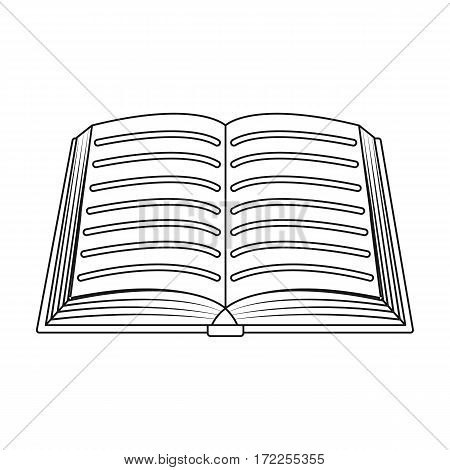 Book icon in outline design isolated on white background. Library and bookstore symbol stock vector illustration.