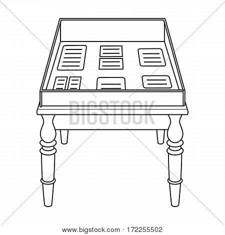 Showcase with old documents icon in outline design isolated on white background. Library and bookstore symbol stock vector illustration.