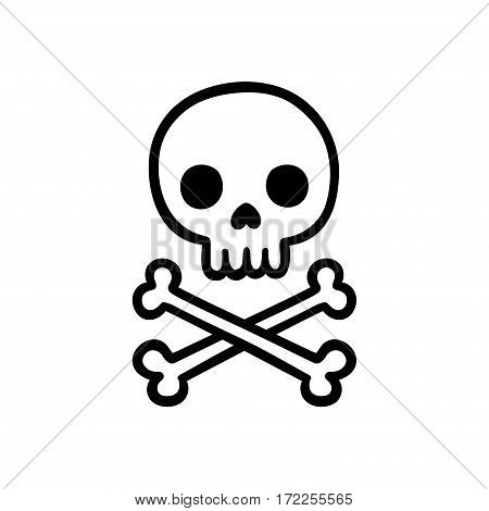 Skull and crossbones hand drawn doodle. Isolated skull outline silhouette vector illustration.