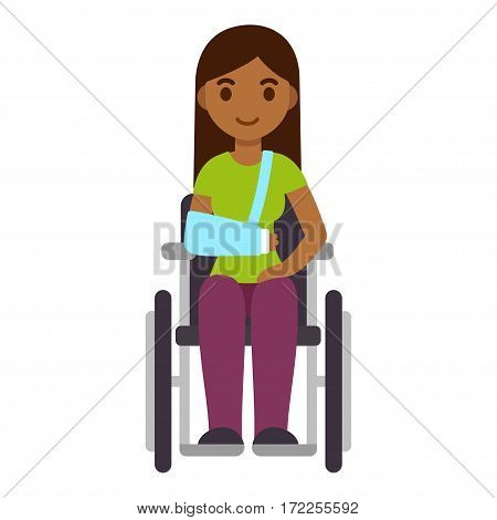 Young ethnic woman in wheelchair with arm sling cute cartoon vector art. Injury and rehabilitation concept healthcare illustration.
