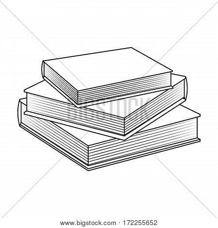 Stack of books icon in outline design isolated on white background. Library and bookstore symbol stock vector illustration.