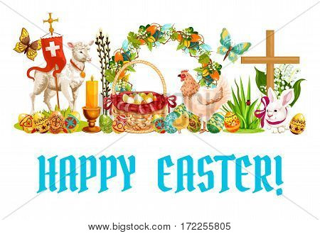 Easter spring holiday banner. Decorated Easter eggs in basket, rabbit, chicken with chick, lamb of God, floral Easter wreath with eggs, lily and tulip flowers, candle, cross, butterfly and willow tree