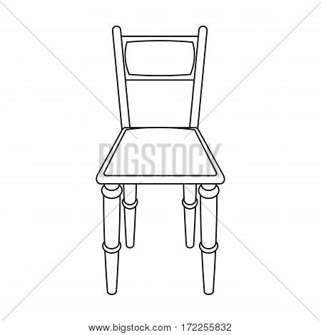 Wooden chair icon in outline design isolated on white background. Library and bookstore symbol stock vector illustration.