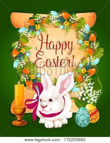 Easter eggs with rabbit greeting card. Paper scroll with Easter eggs, spring flowers and grapevine wreath, painted eggs, white bunny with ribbon, bunch of lily flower and candle. Easter card design