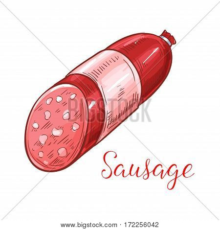 Sausage vector icon of meat delicatessen kielbasa salami or pepperoni, smoked bratwurst or curry wurst, chorizo, saucisson or bockwurst. Isolated sausage for farmer butchery shop and store sign