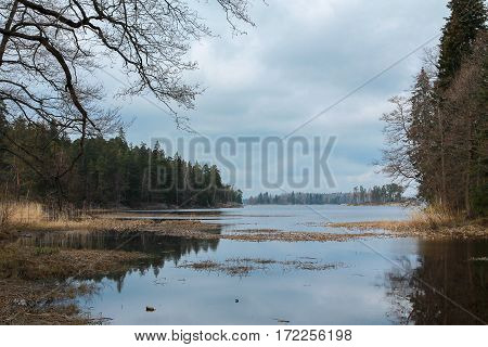 lake with rocky shores in russia north