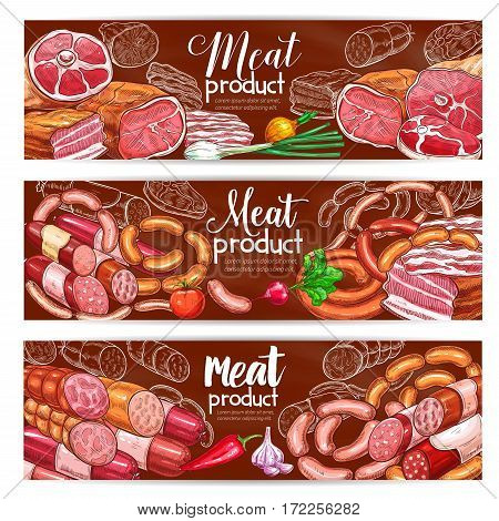 Meat and barbecue sausage products vector banners of smoked brisket, roastbeef and ham bacon, pepperoni, bbq wurst sausages, pork and beef steaks. Design for butchery store or gastronomy butcher shop