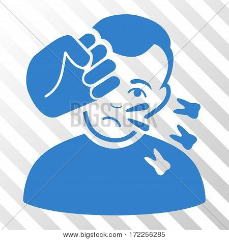Cobalt Head Strike interface icon. Vector pictogram style is a flat symbol on diagonally hatched transparent background.
