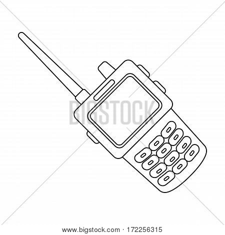 Handheld transceiver icon in outline design isolated on white background. Police symbol stock vector illustration.