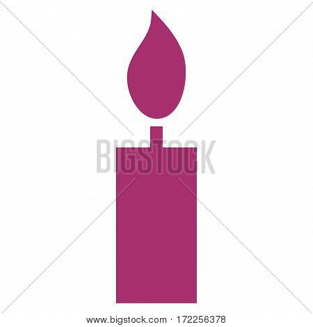 Candle flat icon. Vector purple symbol. Pictogram is isolated on a white background. Trendy flat style illustration for web site design logo ads apps user interface.