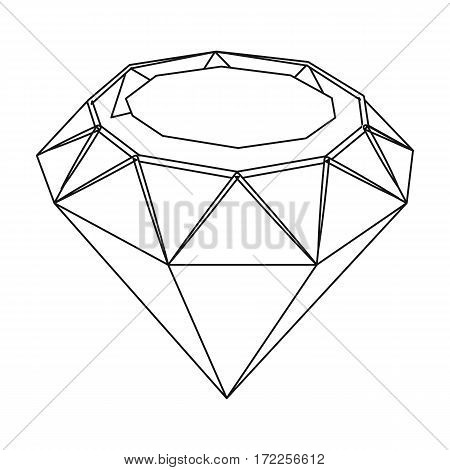 Diamond icon in outline design isolated on white background. Precious minerals and jeweler symbol stock vector illustration.