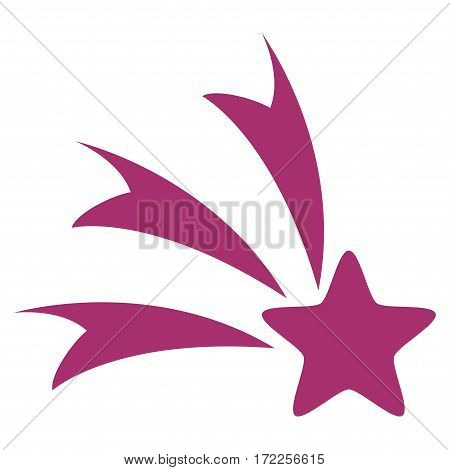 Falling Star flat icon. Vector purple symbol. Pictograph is isolated on a white background. Trendy flat style illustration for web site design logo ads apps user interface.