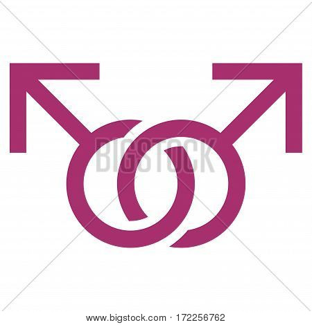 Gay Love Symbol flat icon. Vector purple symbol. Pictogram is isolated on a white background. Trendy flat style illustration for web site design logo ads apps user interface.