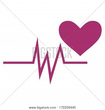Heart Pulse Signal flat icon. Vector purple symbol. Pictogram is isolated on a white background. Trendy flat style illustration for web site design logo ads apps user interface.