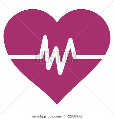 Heart Pulse flat icon. Vector purple symbol. Pictograph is isolated on a white background. Trendy flat style illustration for web site design logo ads apps user interface.