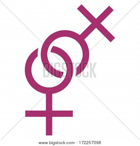 Lesbian Love Symbol flat icon. Vector purple symbol. Pictograph is isolated on a white background. Trendy flat style illustration for web site design logo ads apps user interface.